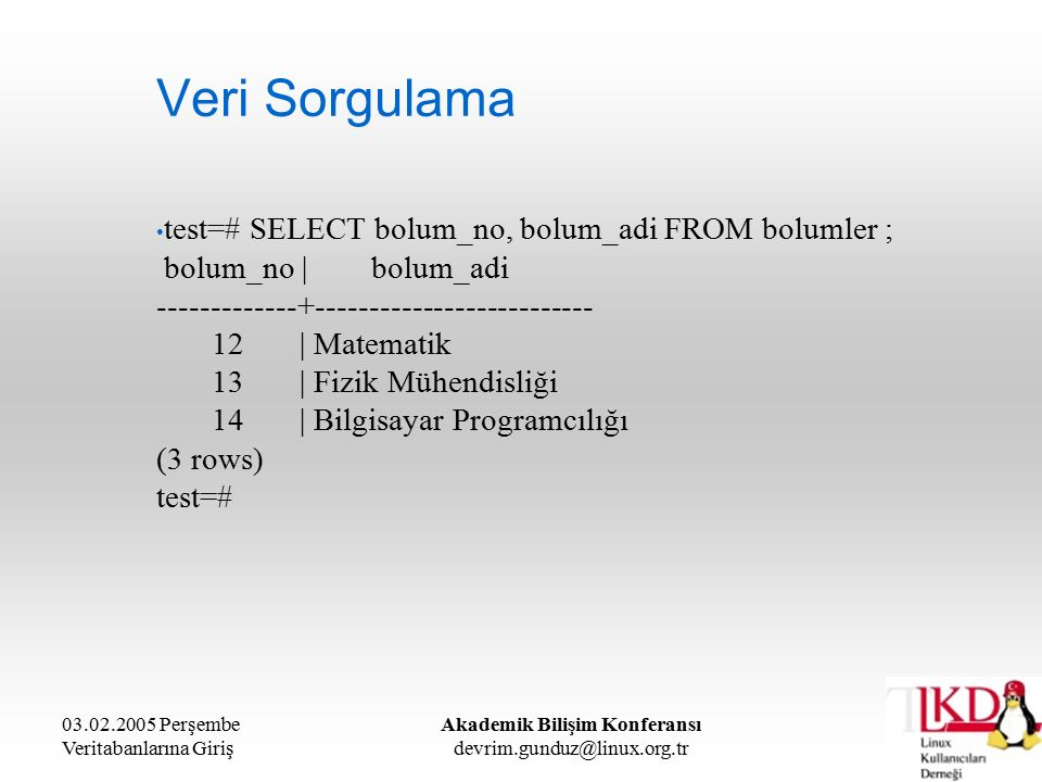 03.02.2005 Perşembe Veritabanlarına Giriş Akademik Bilişim Konferansı devrim.gunduz@linux.org.tr Veri Sorgulama test=# SELECT bolum_no, bolum_adi FROM bolumler ; bolum_no | bolum_adi -------------+-------------------------- 12 | Matematik 13 | Fizik Mühendisliği 14 | Bilgisayar Programcılığı (3 rows) test=#