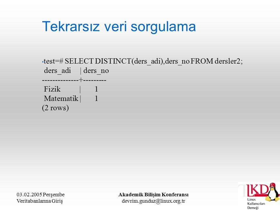 03.02.2005 Perşembe Veritabanlarına Giriş Akademik Bilişim Konferansı devrim.gunduz@linux.org.tr Tekrarsız veri sorgulama test=# SELECT DISTINCT(ders_adi),ders_no FROM dersler2; ders_adi | ders_no --------------+--------- Fizik | 1 Matematik | 1 (2 rows)
