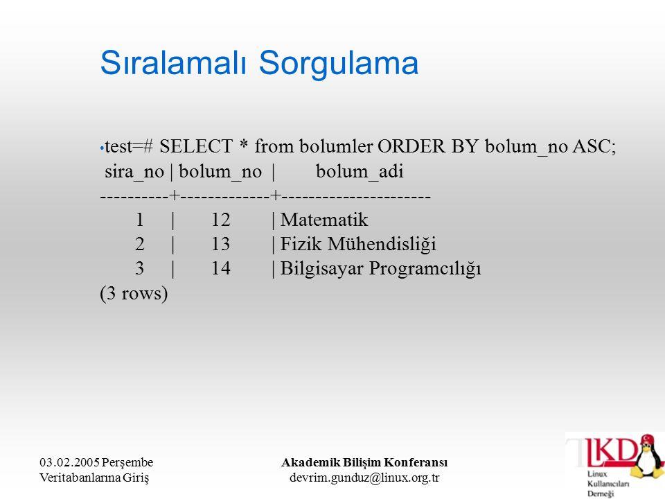 03.02.2005 Perşembe Veritabanlarına Giriş Akademik Bilişim Konferansı devrim.gunduz@linux.org.tr Sıralamalı Sorgulama test=# SELECT * from bolumler ORDER BY bolum_no ASC; sira_no | bolum_no | bolum_adi ----------+-------------+---------------------- 1 | 12 | Matematik 2 | 13 | Fizik Mühendisliği 3 | 14 | Bilgisayar Programcılığı (3 rows)