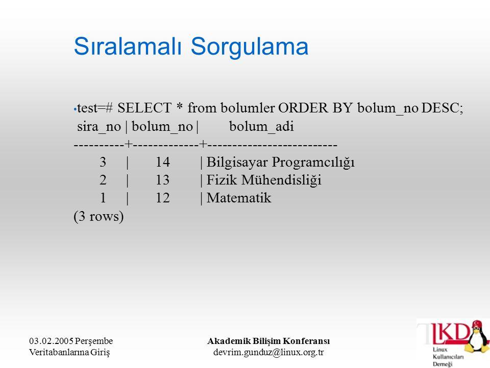 03.02.2005 Perşembe Veritabanlarına Giriş Akademik Bilişim Konferansı devrim.gunduz@linux.org.tr Sıralamalı Sorgulama test=# SELECT * from bolumler ORDER BY bolum_no DESC; sira_no | bolum_no | bolum_adi ----------+-------------+-------------------------- 3 | 14 | Bilgisayar Programcılığı 2 | 13 | Fizik Mühendisliği 1 | 12 | Matematik (3 rows)