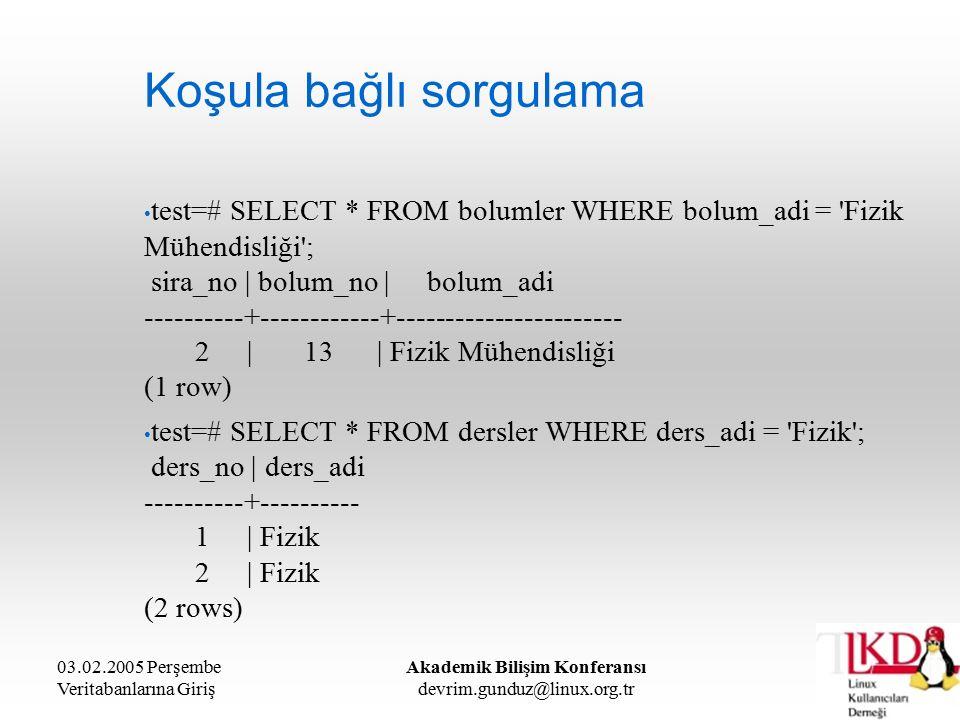 03.02.2005 Perşembe Veritabanlarına Giriş Akademik Bilişim Konferansı devrim.gunduz@linux.org.tr Koşula bağlı sorgulama test=# SELECT * FROM bolumler WHERE bolum_adi = Fizik Mühendisliği ; sira_no | bolum_no | bolum_adi ----------+------------+----------------------- 2 | 13 | Fizik Mühendisliği (1 row) test=# SELECT * FROM dersler WHERE ders_adi = Fizik ; ders_no | ders_adi ----------+---------- 1 | Fizik 2 | Fizik (2 rows)