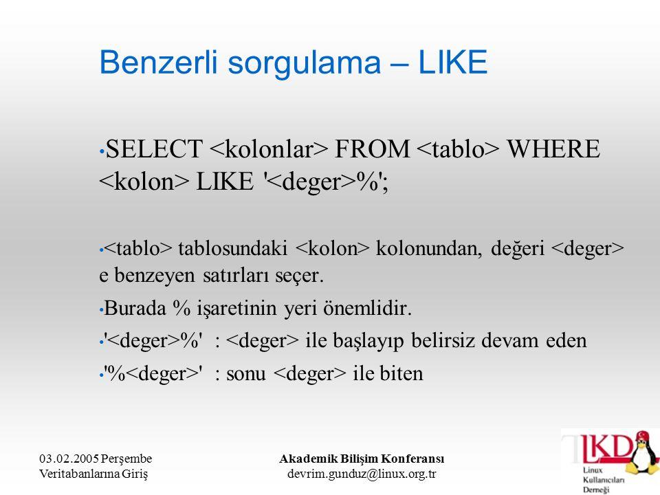 03.02.2005 Perşembe Veritabanlarına Giriş Akademik Bilişim Konferansı devrim.gunduz@linux.org.tr Benzerli sorgulama – LIKE SELECT FROM WHERE LIKE % ; tablosundaki kolonundan, değeri e benzeyen satırları seçer.