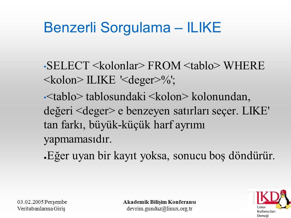 03.02.2005 Perşembe Veritabanlarına Giriş Akademik Bilişim Konferansı devrim.gunduz@linux.org.tr Benzerli Sorgulama – ILIKE SELECT FROM WHERE ILIKE % ; tablosundaki kolonundan, değeri e benzeyen satırları seçer.