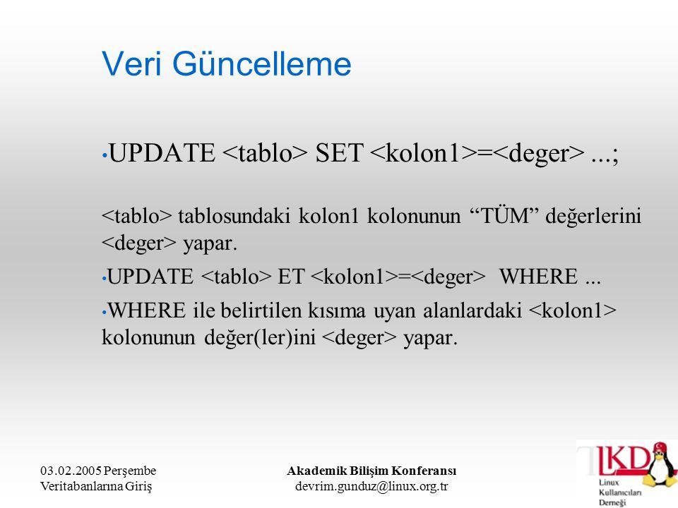 03.02.2005 Perşembe Veritabanlarına Giriş Akademik Bilişim Konferansı devrim.gunduz@linux.org.tr Veri Güncelleme UPDATE SET =...; tablosundaki kolon1 kolonunun TÜM değerlerini yapar.
