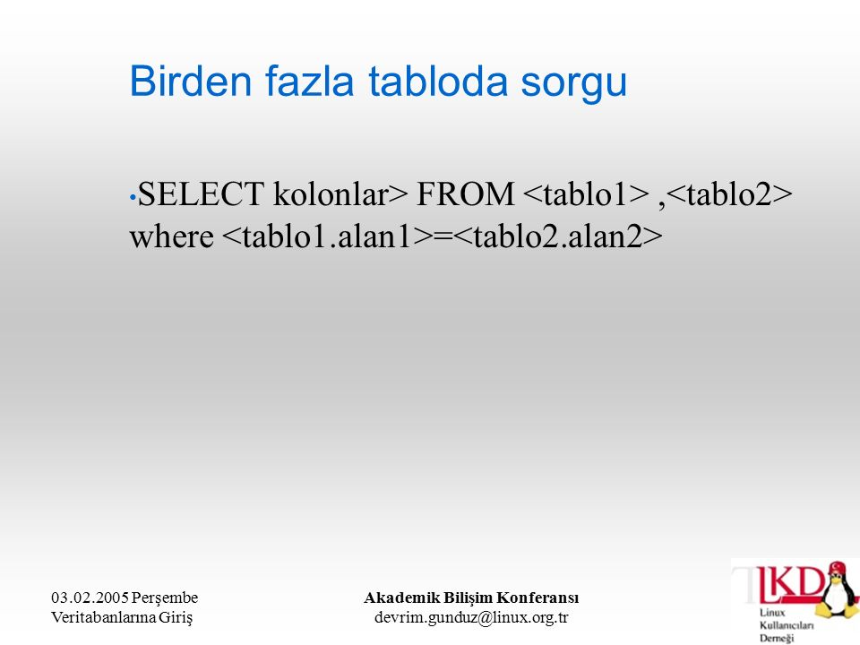 03.02.2005 Perşembe Veritabanlarına Giriş Akademik Bilişim Konferansı devrim.gunduz@linux.org.tr Birden fazla tabloda sorgu SELECT kolonlar> FROM, whe