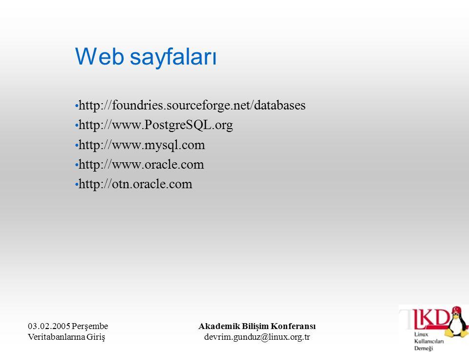 03.02.2005 Perşembe Veritabanlarına Giriş Akademik Bilişim Konferansı devrim.gunduz@linux.org.tr Web sayfaları http://foundries.sourceforge.net/databases http://www.PostgreSQL.org http://www.mysql.com http://www.oracle.com http://otn.oracle.com