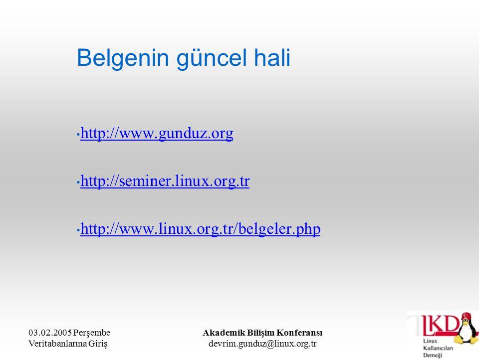 03.02.2005 Perşembe Veritabanlarına Giriş Akademik Bilişim Konferansı devrim.gunduz@linux.org.tr Belgenin güncel hali http://www.gunduz.org http://seminer.linux.org.tr http://www.linux.org.tr/belgeler.php