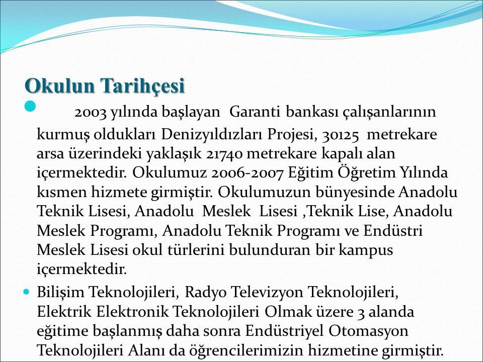 Okulun Tarihçesi 2003 yılında başlayan Garanti bankası çalışanlarının kurmuş oldukları Denizyıldızları Projesi, 30125 metrekare arsa üzerindeki yaklaş