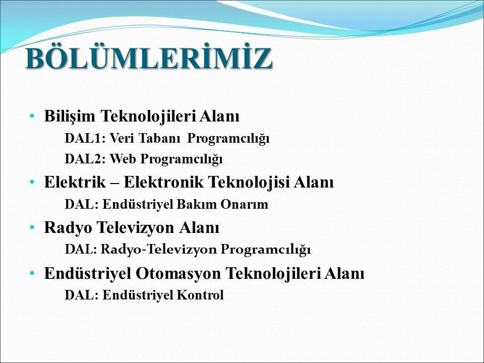 BÖLÜMLERİMİZ Bilişim Teknolojileri Alanı DAL1: Veri Tabanı Programcılığı DAL2: Web Programcılığı Elektrik – Elektronik Teknolojisi Alanı DAL: Endüstri