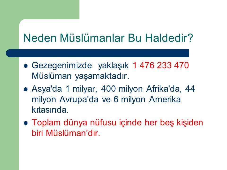 Neden Müslümanlar Bu Haldedir. Gezegenimizde yaklaşık 1 476 233 470 Müslüman yaşamaktadır.