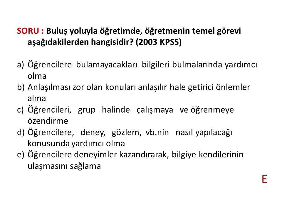 Kpss Eğitim Bilimleri Öğretim İlke ve Yöntemleri 38 SORU : Buluş yoluyla öğretimde, öğretmenin temel görevi aşağıdakilerden hangisidir.