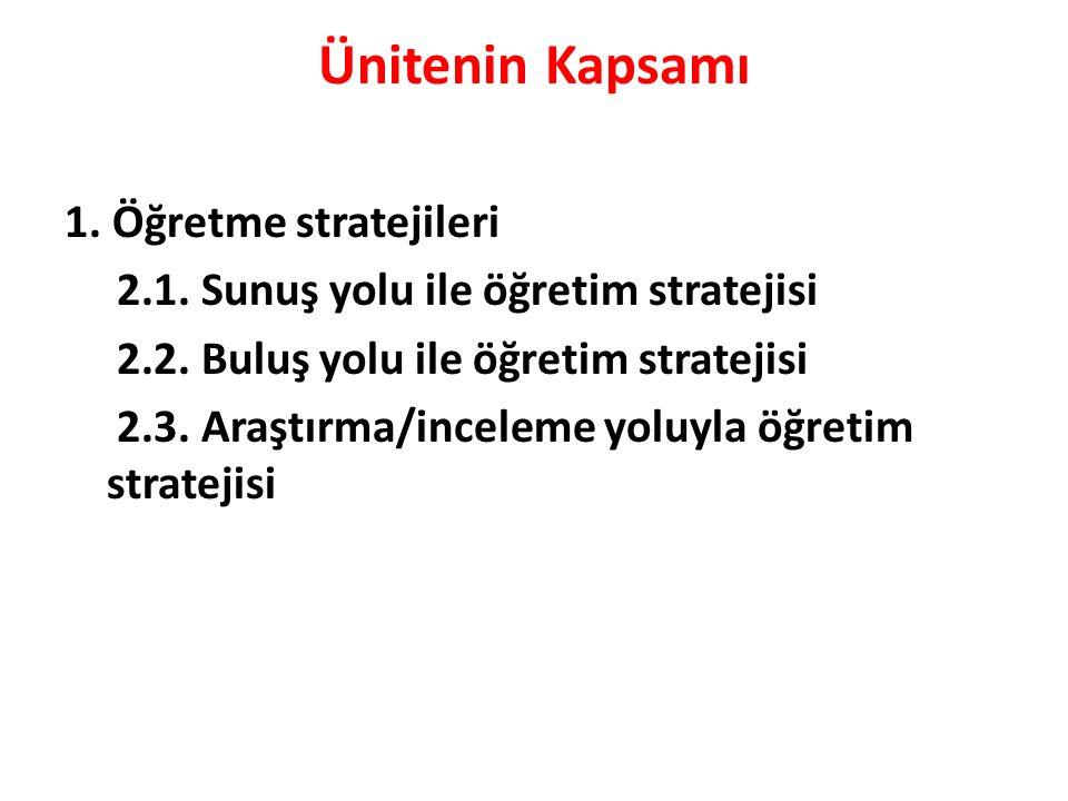 Ünitenin Kapsamı 1. Öğretme stratejileri 2.1. Sunuş yolu ile öğretim stratejisi 2.2.