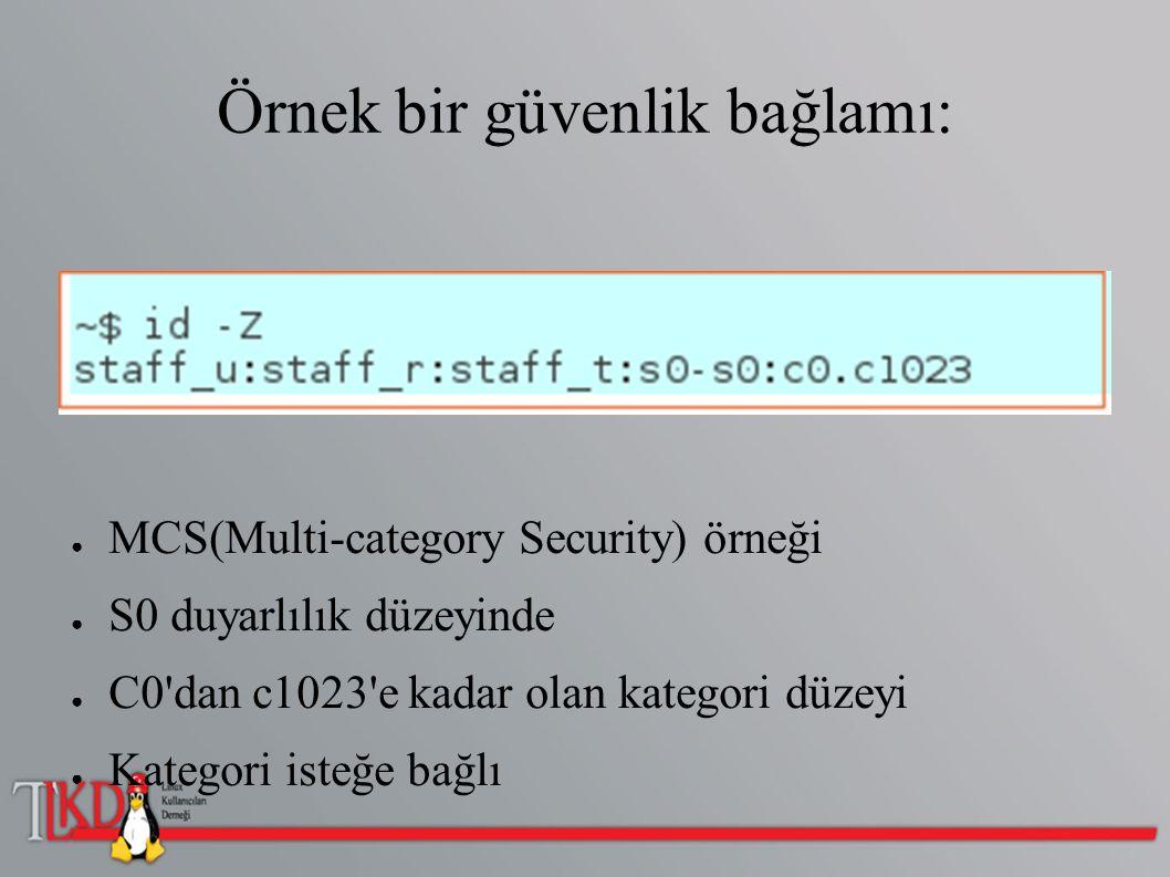Örnek bir güvenlik bağlamı: ● MCS(Multi-category Security) örneği ● S0 duyarlılık düzeyinde ● C0'dan c1023'e kadar olan kategori düzeyi ● Kategori ist