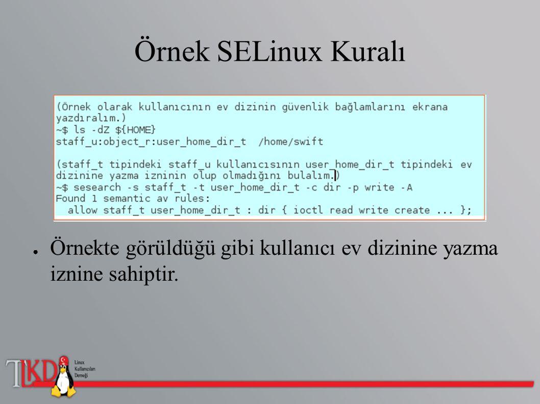 Örnek SELinux Kuralı ● Örnekte görüldüğü gibi kullanıcı ev dizinine yazma iznine sahiptir.