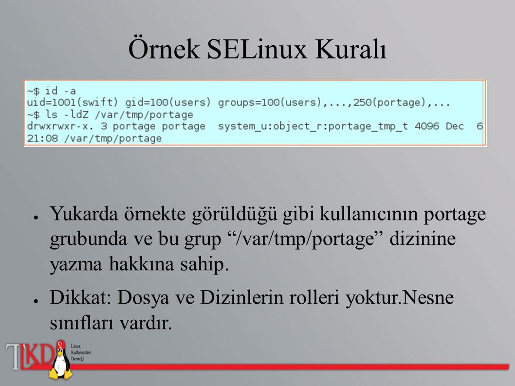"""Örnek SELinux Kuralı ● Yukarda örnekte görüldüğü gibi kullanıcının portage grubunda ve bu grup """"/var/tmp/portage"""" dizinine yazma hakkına sahip. ● Dikk"""