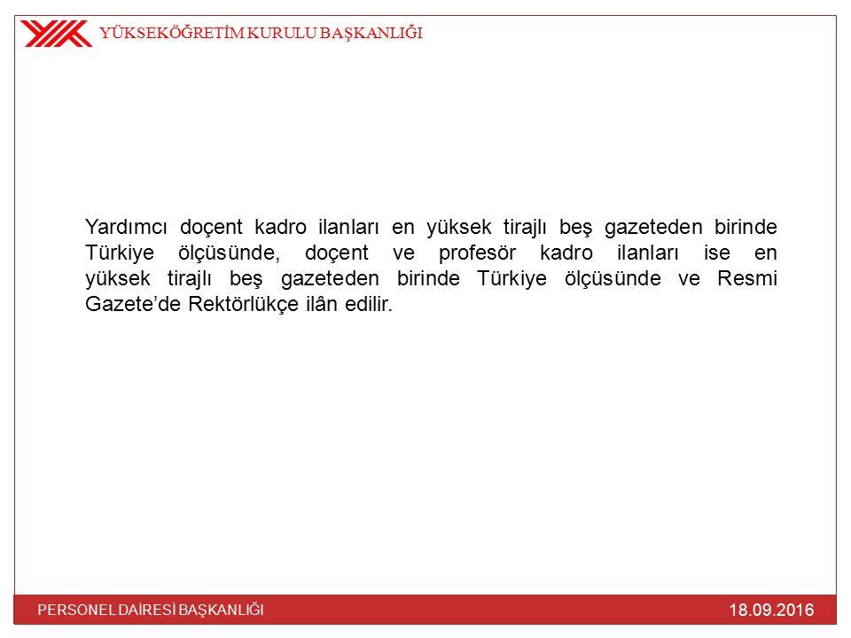 18.09.2016 PERSONEL DAİRESİ BAŞKANLIĞI Yardımcı doçent kadro ilanları en yüksek tirajlı beş gazeteden birinde Türkiye ölçüsünde, doçent ve profesör kadro ilanları ise en yüksek tirajlı beş gazeteden birinde Türkiye ölçüsünde ve Resmi Gazete'de Rektörlükçe ilân edilir.