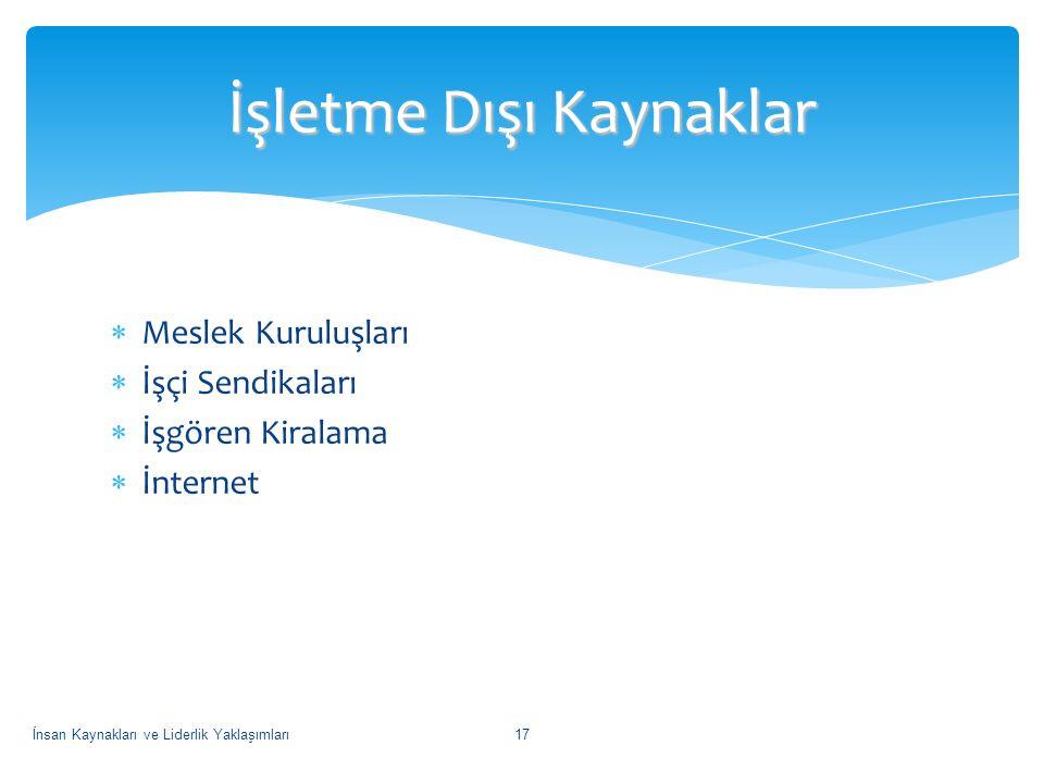  Meslek Kuruluşları  İşçi Sendikaları  İşgören Kiralama  İnternet İşletme Dışı Kaynaklar İnsan Kaynakları ve Liderlik Yaklaşımları17