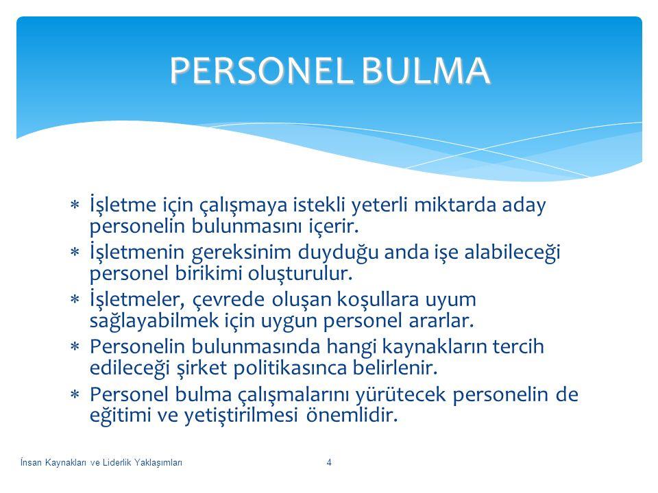  İşletme İçi Kaynaklar  İşletme Dışı Kaynaklar PERSONEL BULMA İnsan Kaynakları ve Liderlik Yaklaşımları5