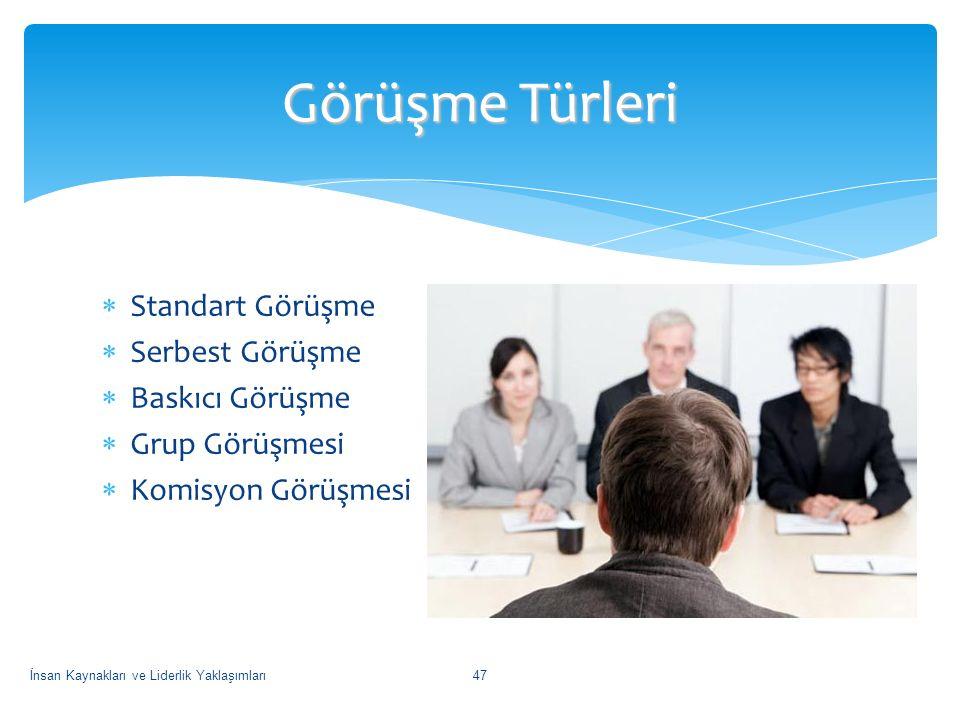  Standart Görüşme  Serbest Görüşme  Baskıcı Görüşme  Grup Görüşmesi  Komisyon Görüşmesi Görüşme Türleri İnsan Kaynakları ve Liderlik Yaklaşımları