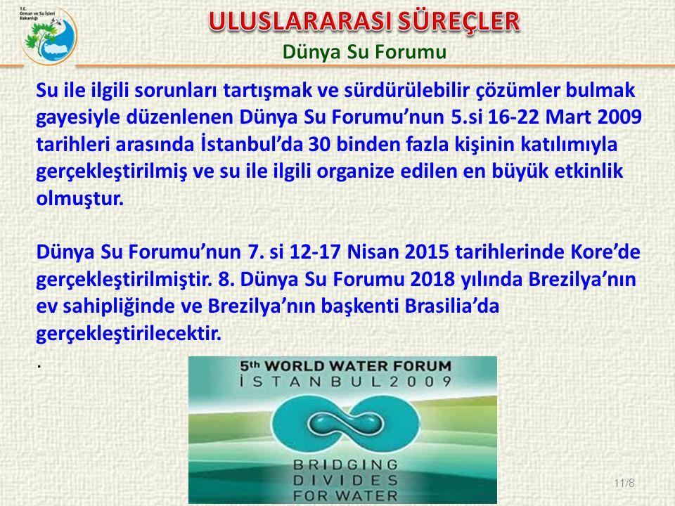 11/8 Su ile ilgili sorunları tartışmak ve sürdürülebilir çözümler bulmak gayesiyle düzenlenen Dünya Su Forumu'nun 5.si 16-22 Mart 2009 tarihleri arasında İstanbul'da 30 binden fazla kişinin katılımıyla gerçekleştirilmiş ve su ile ilgili organize edilen en büyük etkinlik olmuştur.