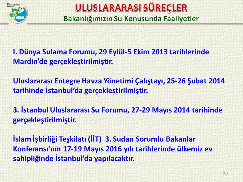 12/8 I. Dünya Sulama Forumu, 29 Eylül-5 Ekim 2013 tarihlerinde Mardin'de gerçekleştirilmiştir.