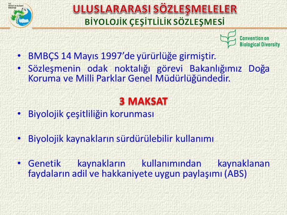 BMBÇS 14 Mayıs 1997'de yürürlüğe girmiştir. Sözleşmenin odak noktalığı görevi Bakanlığımız Doğa Koruma ve Milli Parklar Genel Müdürlüğündedir. 3 MAKSA