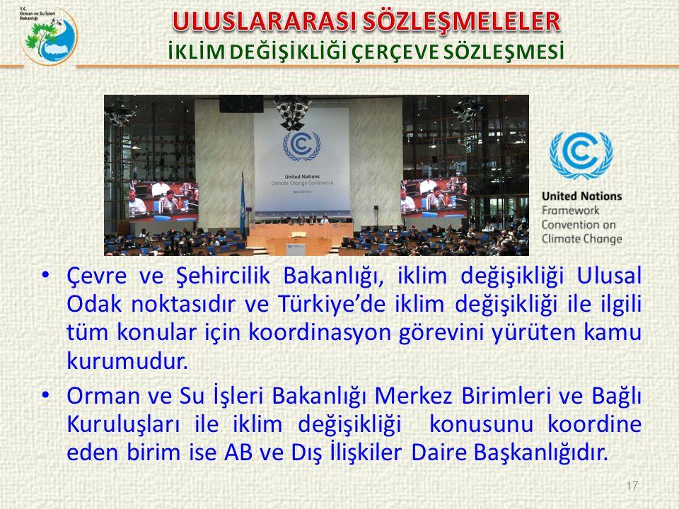 Çevre ve Şehircilik Bakanlığı, iklim değişikliği Ulusal Odak noktasıdır ve Türkiye'de iklim değişikliği ile ilgili tüm konular için koordinasyon görev
