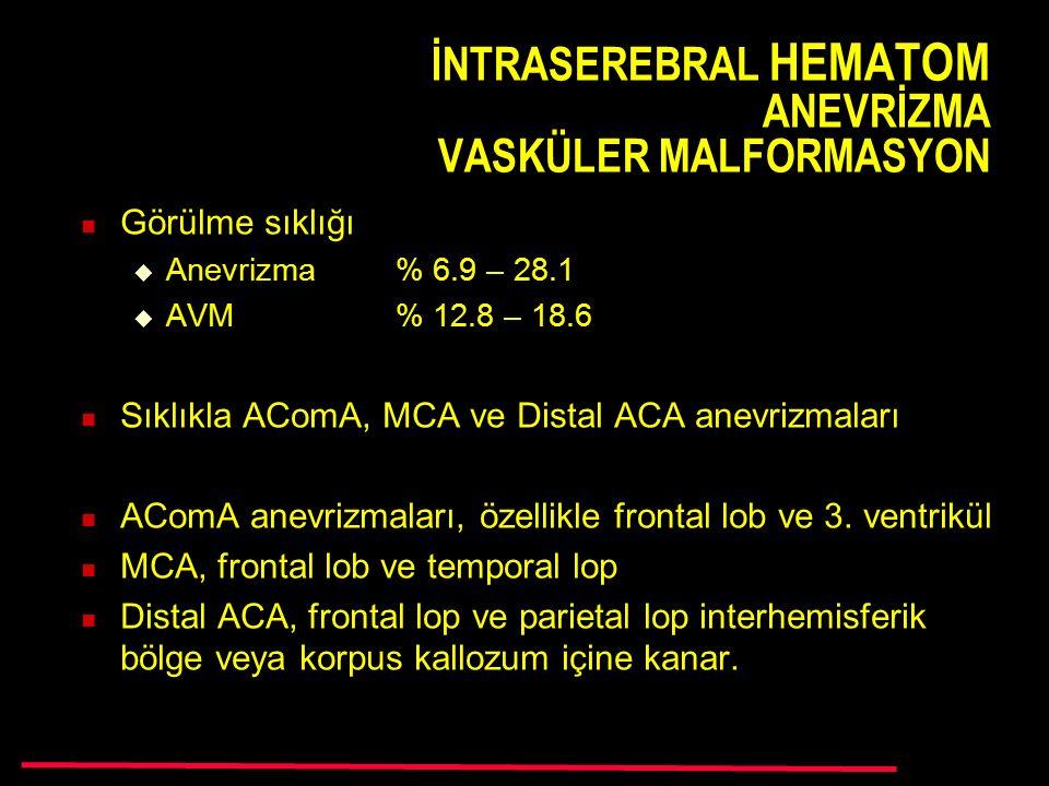 İNTRASEREBRAL HEMATOM ANEVRİZMA VASKÜLER MALFORMASYON Görülme sıklığı  Anevrizma % 6.9 – 28.1  AVM % 12.8 – 18.6 Sıklıkla AComA, MCA ve Distal ACA anevrizmaları AComA anevrizmaları, özellikle frontal lob ve 3.