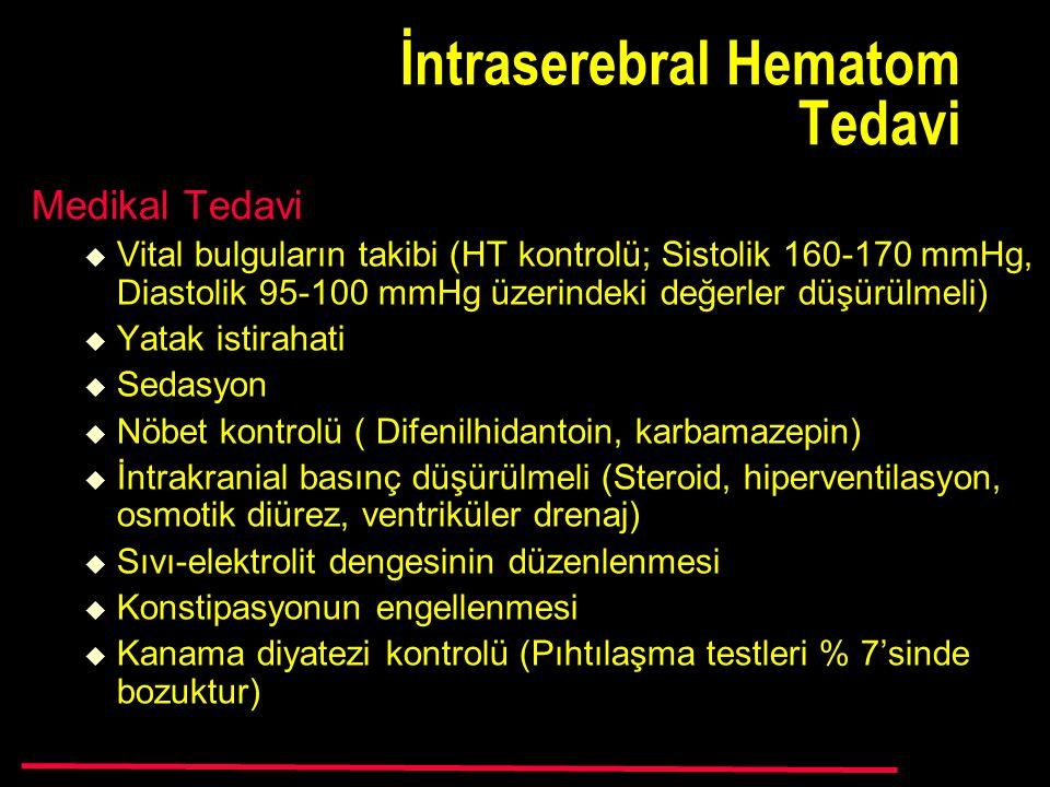 İntraserebral Hematom Tedavi Medikal Tedavi  Vital bulguların takibi (HT kontrolü; Sistolik 160-170 mmHg, Diastolik 95-100 mmHg üzerindeki değerler düşürülmeli)  Yatak istirahati  Sedasyon  Nöbet kontrolü ( Difenilhidantoin, karbamazepin)  İntrakranial basınç düşürülmeli (Steroid, hiperventilasyon, osmotik diürez, ventriküler drenaj)  Sıvı-elektrolit dengesinin düzenlenmesi  Konstipasyonun engellenmesi  Kanama diyatezi kontrolü (Pıhtılaşma testleri % 7'sinde bozuktur)