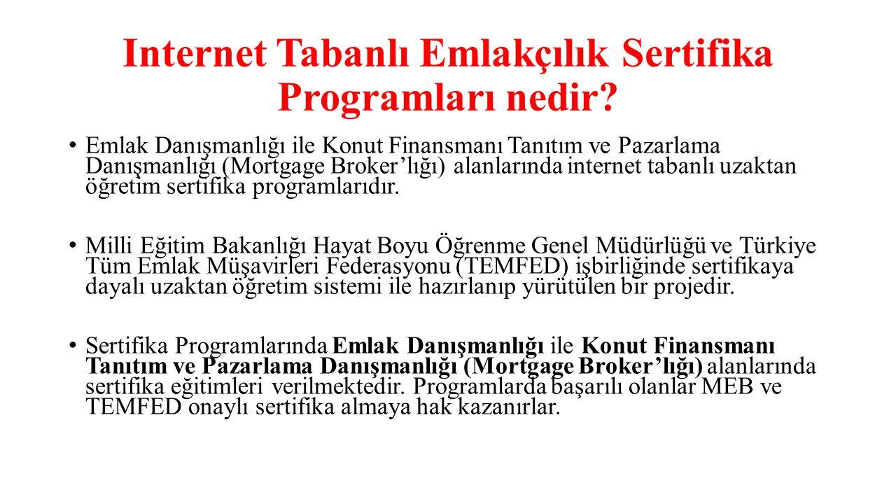 Internet Tabanlı Emlakçılık Sertifika Programları nedir? Emlak Danışmanlığı ile Konut Finansmanı Tanıtım ve Pazarlama Danışmanlığı (Mortgage Broker'lı