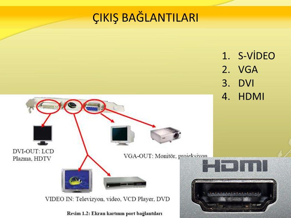 ÇIKIŞ BAĞLANTILARI 1.S-VİDEO 2.VGA 3.DVI 4.HDMI