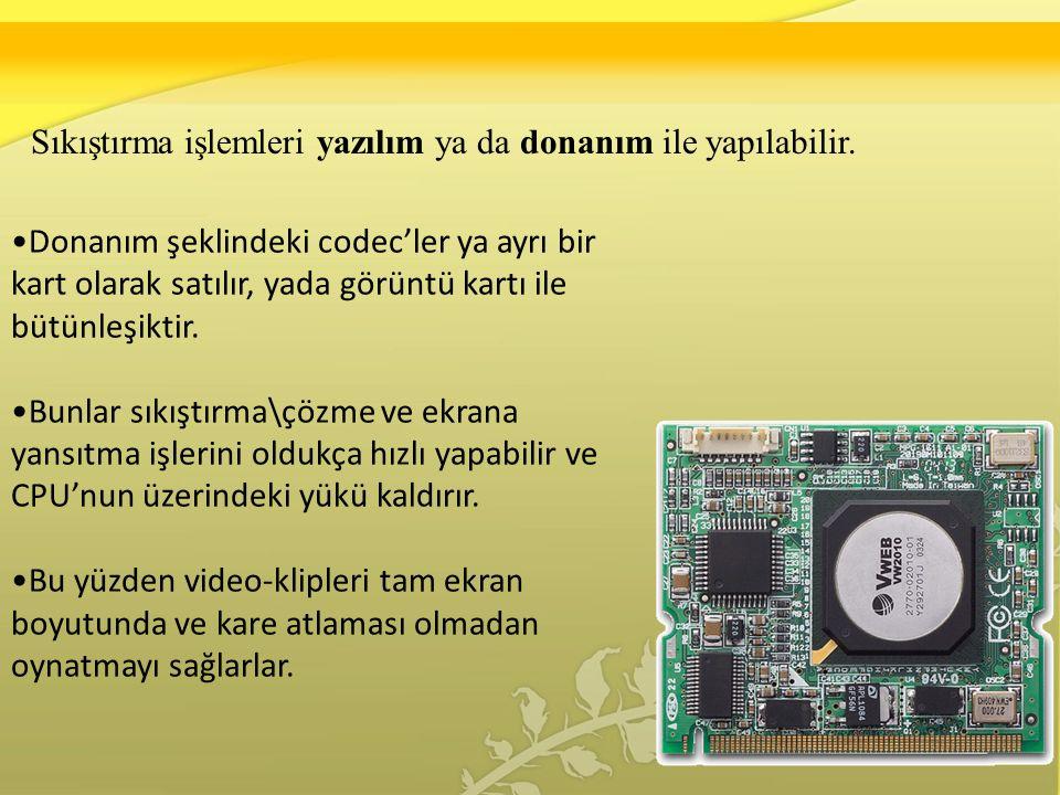 Sıkıştırma işlemleri yazılım ya da donanım ile yapılabilir.