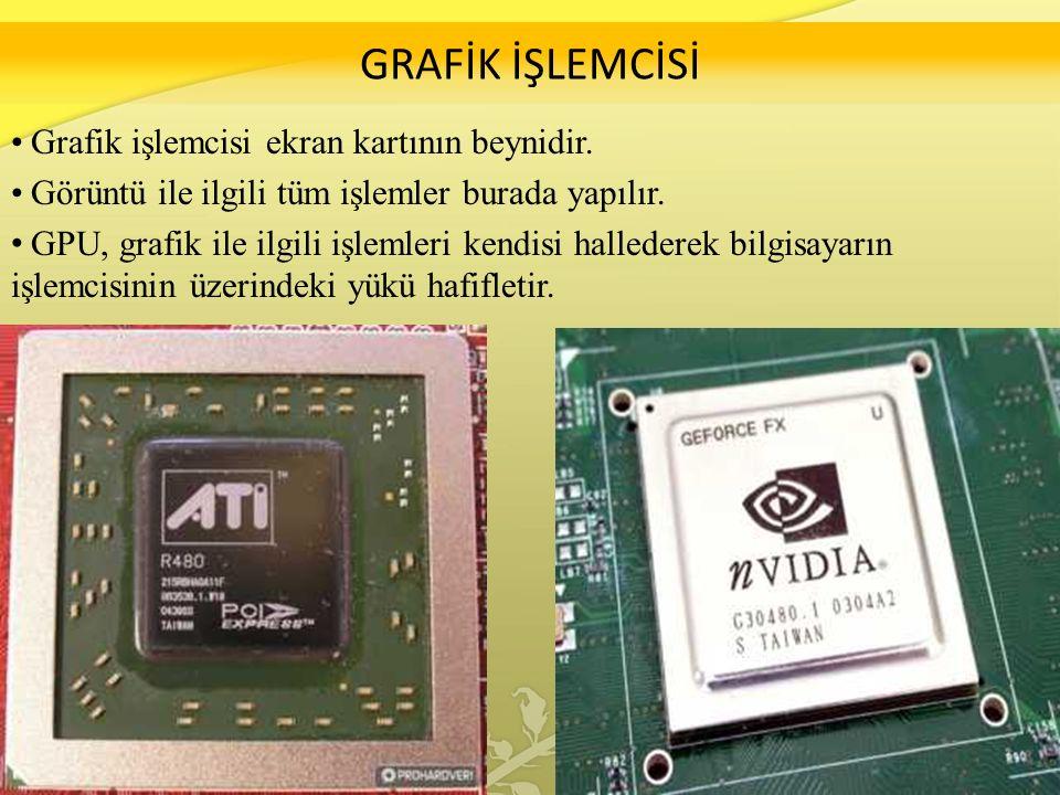 GRAFİK İŞLEMCİSİ Grafik işlemcisi ekran kartının beynidir.