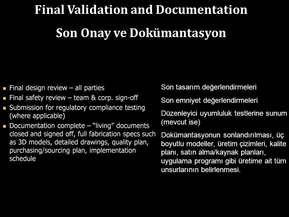 Final Validation and Documentation Son Onay ve Dokümantasyon Son tasarım değerlendirmeleri Son emniyet değerlendirmeleri Düzenleyici uyumluluk testlerine sunum (mevcut ise) Dokümantasyonun sonlandırılması, üç boyutlu modeller, üretim çizimleri, kalite planı, satın alma/kaynak planları, uygulama programı gibi üretime ait tüm unsurlarının belirlenmesi.