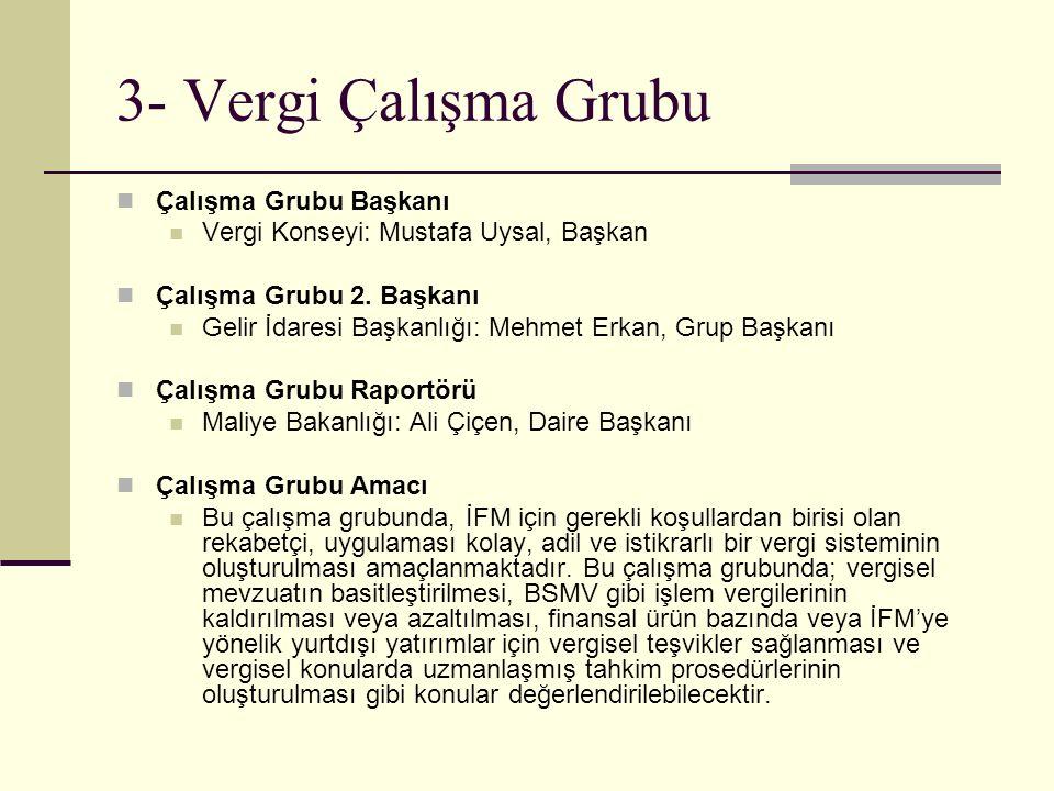 3- Vergi Çalışma Grubu Çalışma Grubu Başkanı Vergi Konseyi: Mustafa Uysal, Başkan Çalışma Grubu 2.