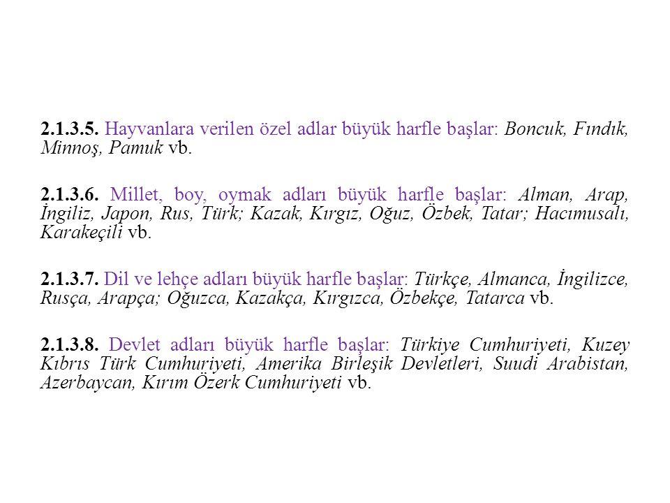 2.1.3.5. Hayvanlara verilen özel adlar büyük harfle başlar: Boncuk, Fındık, Minnoş, Pamuk vb.