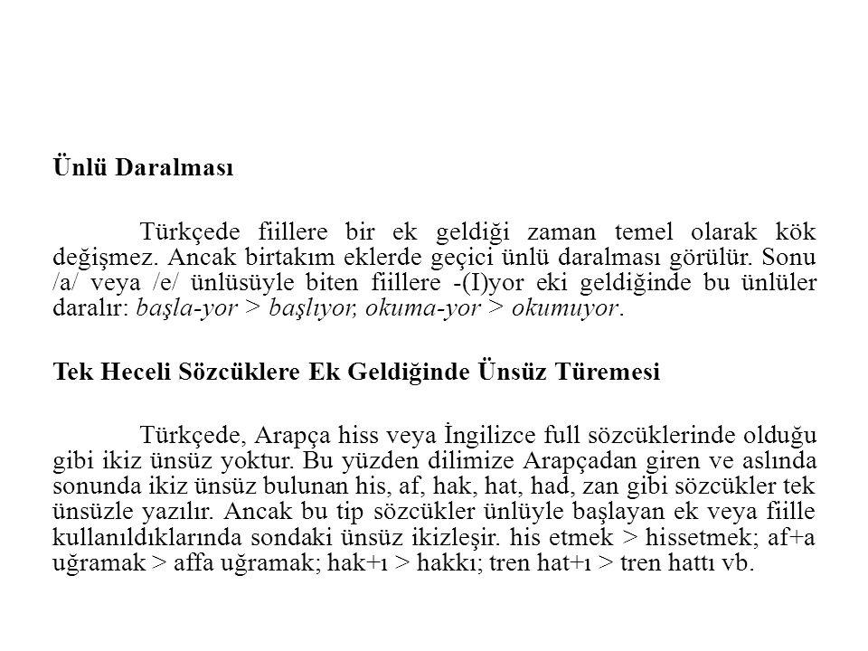 Ünlü Daralması Türkçede fiillere bir ek geldiği zaman temel olarak kök değişmez. Ancak birtakım eklerde geçici ünlü daralması görülür. Sonu /a/ veya /
