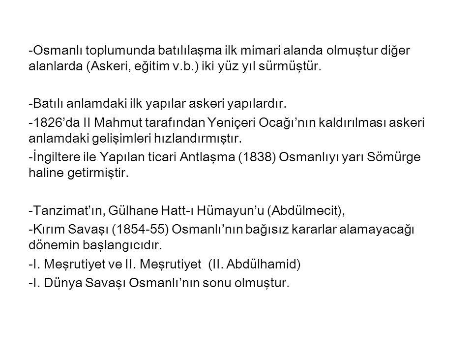 Mimari Anlamdaki Gelişmeler Osmanlı tarihindeki değişiklikler ile Avrupa tarihindeki değişiklikler aşağıdaki gibi olmuştur.