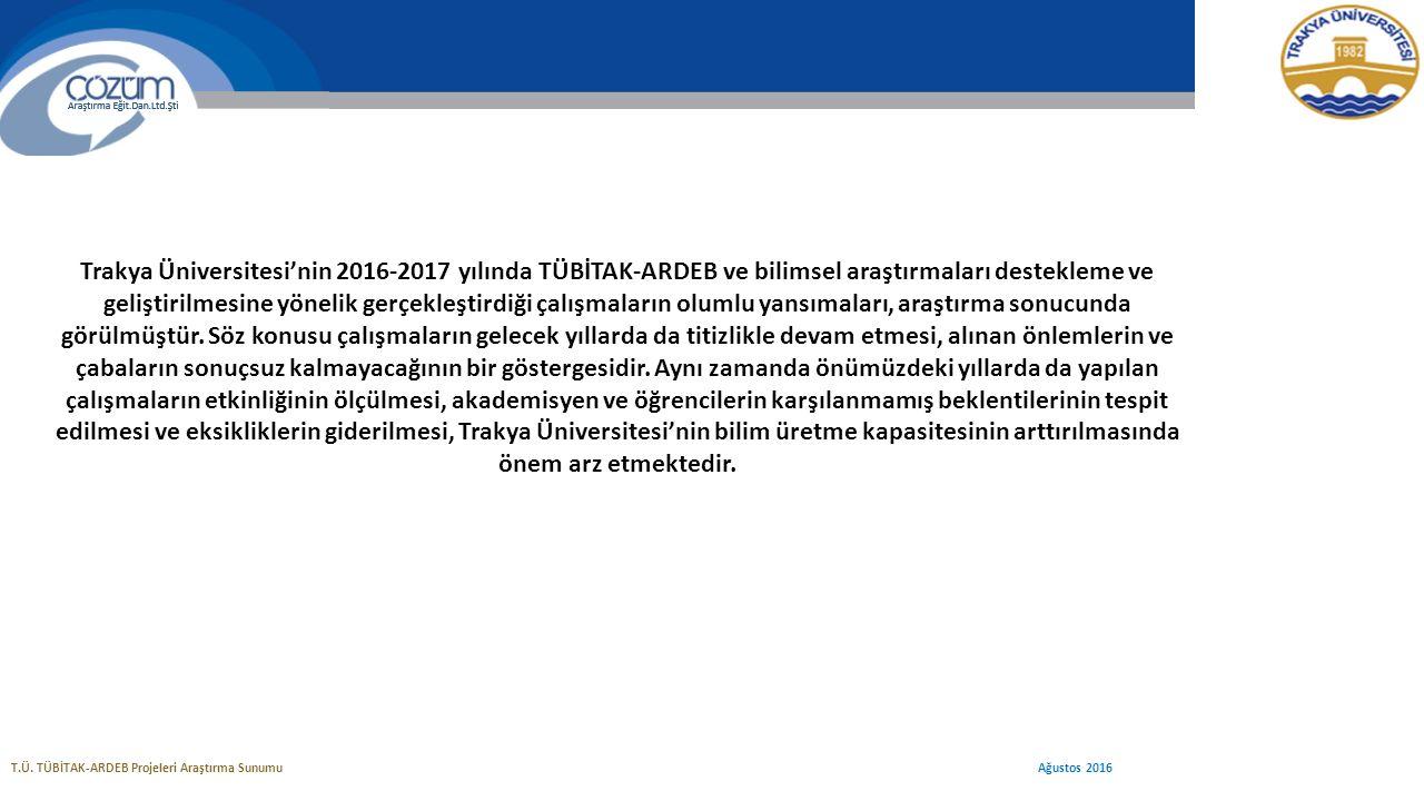 T.Ü. TÜBİTAK-ARDEB Projeleri Araştırma Sunumu Ağustos 2016 Trakya Üniversitesi'nin 2016-2017 yılında TÜBİTAK-ARDEB ve bilimsel araştırmaları desteklem