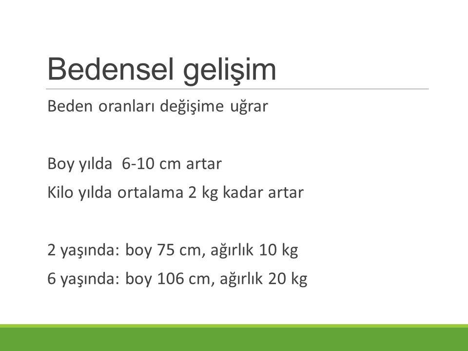Bedensel gelişim Beden oranları değişime uğrar Boy yılda 6-10 cm artar Kilo yılda ortalama 2 kg kadar artar 2 yaşında: boy 75 cm, ağırlık 10 kg 6 yaşında: boy 106 cm, ağırlık 20 kg