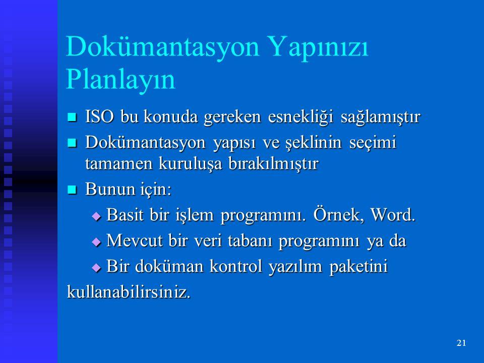 21 Dokümantasyon Yapınızı Planlayın ISO bu konuda gereken esnekliği sağlamıştır ISO bu konuda gereken esnekliği sağlamıştır Dokümantasyon yapısı ve şeklinin seçimi tamamen kuruluşa bırakılmıştır Dokümantasyon yapısı ve şeklinin seçimi tamamen kuruluşa bırakılmıştır Bunun için: Bunun için:  Basit bir işlem programını.