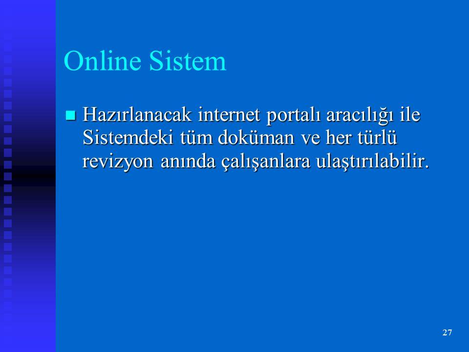27 Online Sistem Hazırlanacak internet portalı aracılığı ile Sistemdeki tüm doküman ve her türlü revizyon anında çalışanlara ulaştırılabilir.