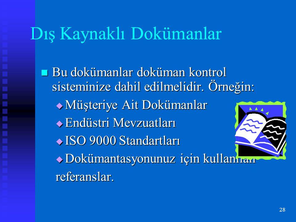28 Dış Kaynaklı Dokümanlar Bu dokümanlar doküman kontrol sisteminize dahil edilmelidir.