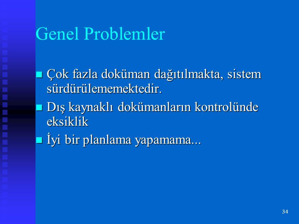 34 Genel Problemler Çok fazla doküman dağıtılmakta, sistem sürdürülememektedir.