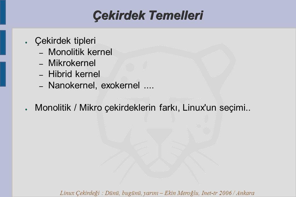 Linux Çekirdeği : Dünü, bugünü, yarını – Ekin Meroğlu, Inet-tr 2006 / Ankara Çekirdek Temelleri ● Çekirdek tipleri – Monolitik kernel – Mikrokernel – Hibrid kernel – Nanokernel, exokernel....