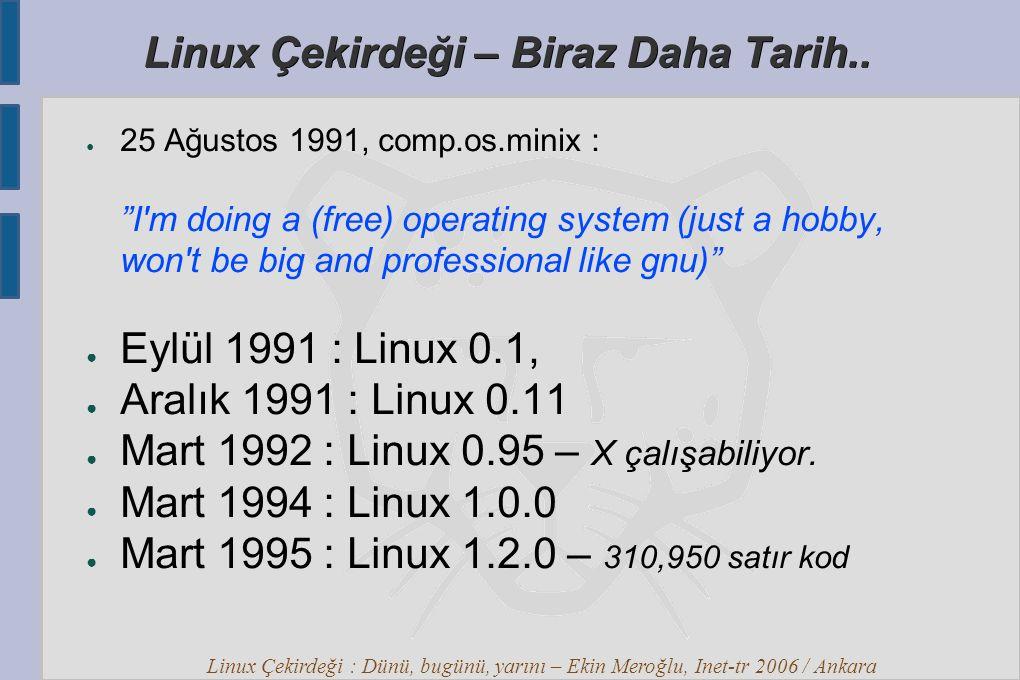 Linux Çekirdeği : Dünü, bugünü, yarını – Ekin Meroğlu, Inet-tr 2006 / Ankara Linux Çekirdeği Merak ettikleriniz ?