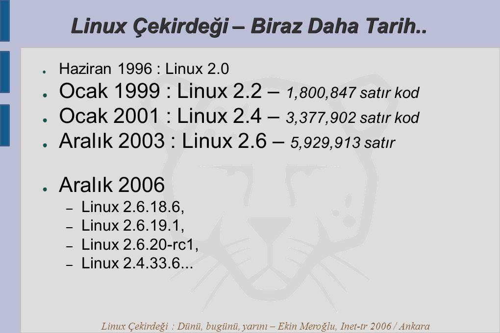 Linux Çekirdeği : Dünü, bugünü, yarını – Ekin Meroğlu, Inet-tr 2006 / Ankara Linux Çekirdeği – Topluluk ● Kernel Newbies – http://kernelnewbies.org/ http://kernelnewbies.org/ ● Kernel Janitors – http://www.kerneljanitors.org/ http://www.kerneljanitors.org/ ● Kernel Mentors – http://selenic.com/mailman/listinfo/kernel- mentors http://selenic.com/mailman/listinfo/kernel- ● Kernel Planet – http://www.kernelplanet.org/