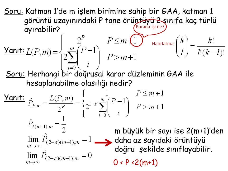 Soru: Katman 1'de m işlem birimine sahip bir GAA, katman 1 görüntü uzayınındaki P tane örüntüyü 2 sınıfa kaç türlü ayırabilir.