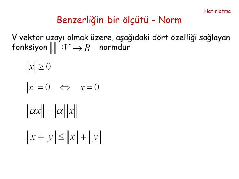 Benzerliğin bir ölçütü - Norm V vektör uzayı olmak üzere, aşağıdaki dört özelliği sağlayan fonksiyon : normdur Hatırlatma