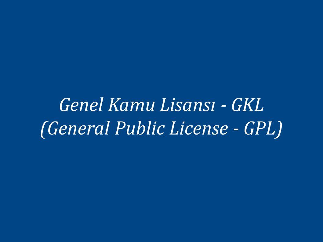 Genel Kamu Lisansı - GKL (General Public License - GPL)